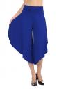 High Waist Asymmetrical Hem Loose Leisure Capri Pants Sapphire Blue