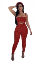 Tube Bandeau Top&Spaghetti Straps Overall Plaid Two Piece Suit Red