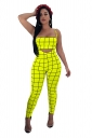 Tube Bandeau Top&Spaghetti Straps Overall Plaid Two Piece Suit Yellow