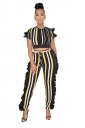 Short Sleeve Crop Top&High Waisted Stringy Selvedge Stripe Suit Yellow
