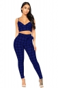 V Neck Spaghetti Straps Crop Top High Waisted Plaid Two Piece Suit Sapphire