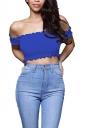 Sexy Off Shoulder Short Sleeve Smocked Plain Crop Top Blue