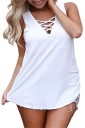 Sexy Criss Cross V Neck Sleeveless Plus Size Plain Tank Top White