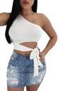 One Shoulder Sleeveless Cut Out Waist Tie Plain Crop Top White
