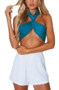 Sexy Strapless Tie Front Plain Bandeau Crop Top Navy Blue