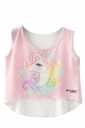 Crew Neck Sleeveless Cartoon Unicorn Print High Low Hem Crop Top Pink