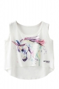 Cute Crew Neck Colorful Unicorn Print High Low Hem Crop Tank Top White