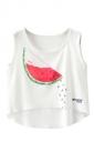 Crew Neck Sleeveless Watermelon Print High Low Hem Crop Tank Top White