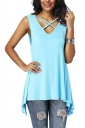 Criss Cross V Neck Asymmetrical Hem Loose Plain Tank Top Turquoise