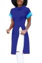Mock Neck Short Sleeve Color Block Split Side T-Shirt Sapphire Blue