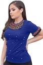 Round Neck Short Sleeve Pearl Decoration Plain T Shirt Sapphire Blue