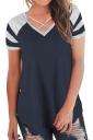 V Neck Raglan Short Sleeve Loose Criss Cross Top Navy Blue