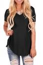 V Neck Short Sleeve Asymmetrical Hem Loose Plain T-Shirt Black