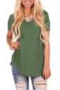 V Neck Short Sleeve Asymmetrical Hem Loose Plain T-Shirt Green