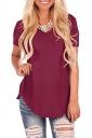 V Neck Short Sleeve Asymmetrical Hem Loose Plain T-Shirt Ruby