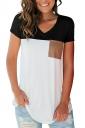 V Neck Short Sleeve Pocket Front Color Block Loose T Shirt Light Black
