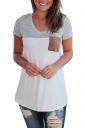 V Neck Short Sleeve Pocket Front Color Block Loose T Shirt Gray