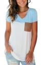 V Neck Short Sleeve Pocket Front Color Block Loose T Shirt Light Blue