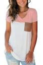 V Neck Short Sleeve Pocket Front Color Block Loose T Shirt Pink