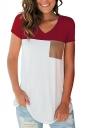 V Neck Short Sleeve Pocket Front Color Block Loose T Shirt Red