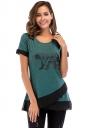 Crew Neck Short Sleeve Color Block Mesh Asymmetrical Hem T Shirt Green