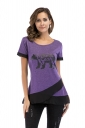 Crew Neck Short Sleeve Color Block Mesh Hem Print T Shirt Purple
