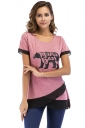 Crew Neck Short Sleeve Color Block Mesh Asymmetrical Hem T Shirt Pink