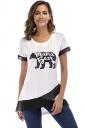 Crew Neck Short Sleeve Color Block Mesh Asymmetrical Hem T Shirt White