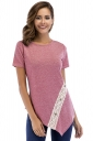 Crew Neck Short Sleeve Asymmetrical Hem Lace Patchwork T Shirt Pink