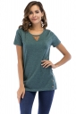 Crew Neck Short Sleeve Double Buttons Loose Plain T Shirt Olive Green