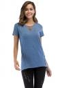 Crew Neck Short Sleeve Double Buttons Loose Plain T Shirt Blue