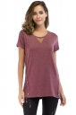 Crew Neck Short Sleeve Double Buttons Loose Plain T Shirt Ruby