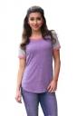 Crew Neck Short Raglan Sleeve Color Block Loose T Shirt Purple