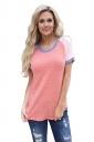 Crew Neck Short Raglan Sleeve Color Block Loose T Shirt Pink