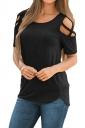 Crew Neck Short Sleeve Cold Shoulder Split Plain T Shirt Black