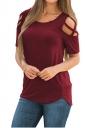 Crew Neck Short Sleeve Cold Shoulder Split Plain T Shirt Ruby