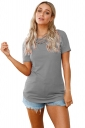 Criss Cross Crew Neck Short Sleeve Loose Plain T Shirt Gray