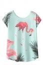 Crew Neck Short Sleeve Flamingos Print Loose T Shirt Blue