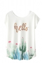 Crew Neck Short Sleeve Hello Cactus Print Loose T Shirt White