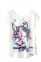 Crew Neck Short Sleeve Cat Print Loose T Shirt White