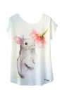 Crew Neck Short Sleeve Rabbit And Flower Print Loose T Shirt White