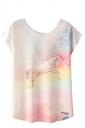 Crew Neck Short Sleeve Colorful Unicorn Print Loose T Shirt Pink