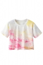 Crew Neck Short Sleeve Oil Painting Double Side Print Crop Top White