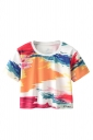 Crew Neck Short Sleeve Colorful Splash-Ink Double Side Print Crop Top