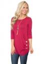Crew Neck 3/4 Length Sleeve Side Button Design Plain T Shirt Rose Red