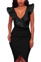 V Neck Ruffle Sleeveless Pleated Asymmetric Hem Bodycon Midi Dress Black