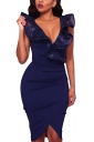 V Neck Ruffle Sleeveless Pleated Asymmetric Hem Bodycon Midi Dress Purple