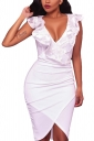 V Neck Ruffle Sleeveless Pleated Asymmetric Hem Bodycon Midi Dress White