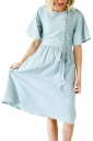 Short Sleeve Button Pocket Waist Belt Loose Plain Midi Dress Light Blue