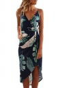 Bohemia Spaghetti Straps V Neck Wrap Leaves Print Midi Dress Turquoise
